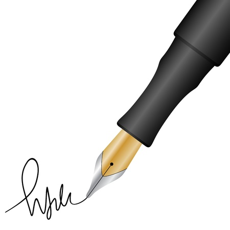 Close up of a fountain pen and signature.  Vector