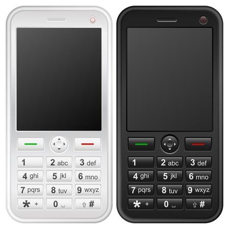Teléfono móvil aislado en un fondo blanco.  Ilustración de vector