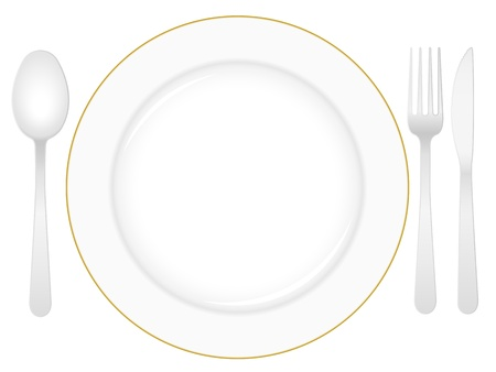 Empty white plate with knife, fork and spoon.