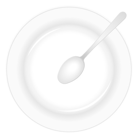 Empty white plate with spoon. Stock Vector - 8598935