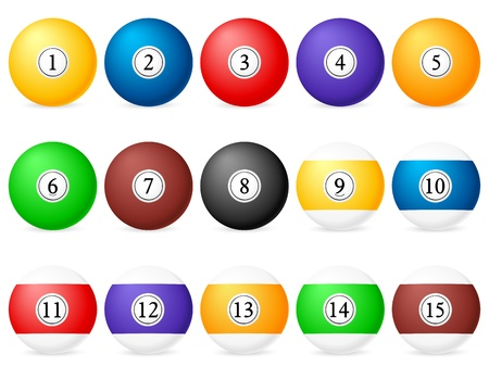 Set of pool balls on a white background.  Vector