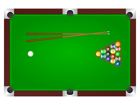 Pool table with balls and cue.