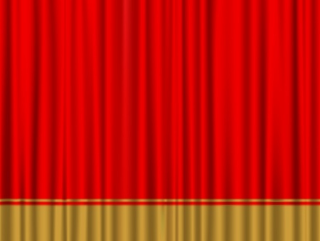 Close view of a red gold curtain.  Vector