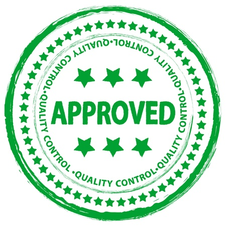 approved stamp: Sello verde grunge aprobado sobre un fondo blanco.  Vectores