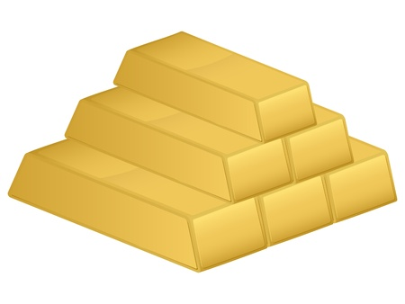 Gold bars isolated on a white background. illustration. Vector