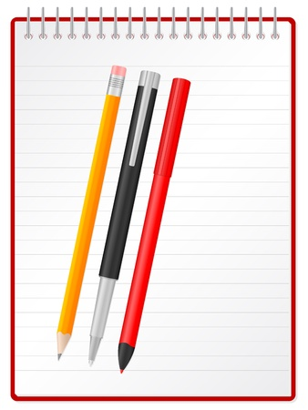 text marker: Pen, pencil, text marker and spiral notepad illustration.