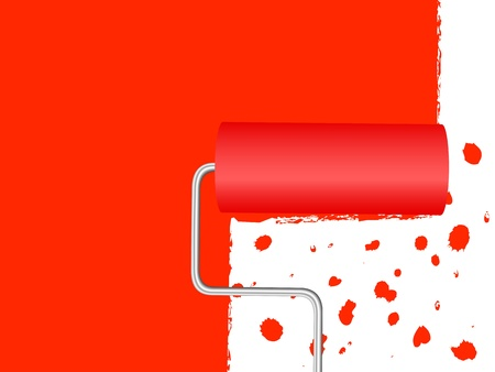 Paint roller applying red paint to a white wall. Vector