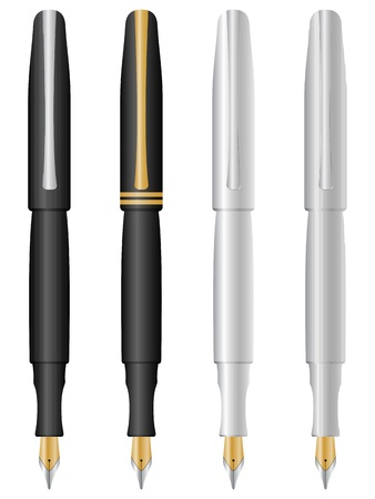 Four pens isolated on a white background.  illustration. Stock Vector - 8695100