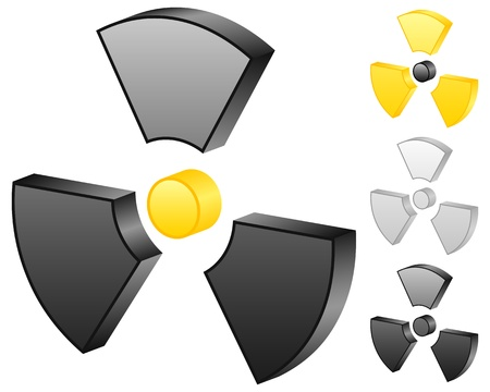 3D radiation sign icons on a white background.  illustration. Stock Vector - 8695088