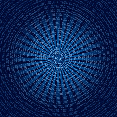 programming code: Blue background with spiral binary code.  illustration.