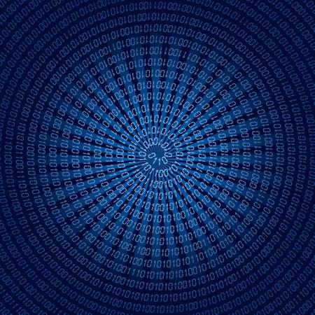 Fond bleu avec code binaire en spirale. illustration.