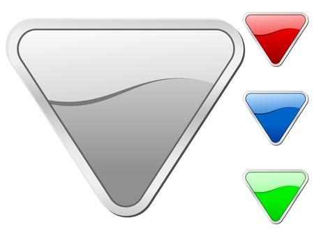 triangle button: conjunto de iconos triangulares aislado en un fondo blanco.  ilustraci�n. Vectores