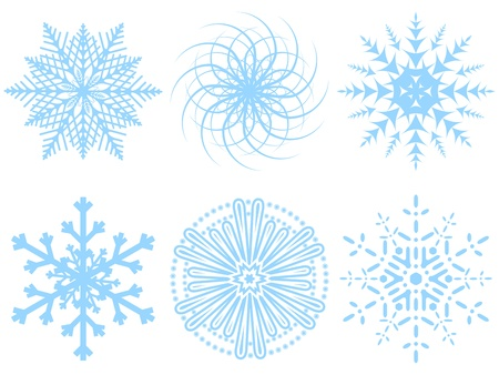 Six different snowflakes on a white background.  illustration. Stock Vector - 8695106