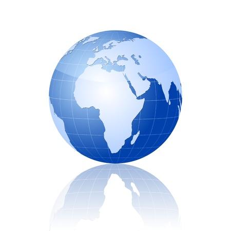africa continent: World globe on white background.   illustration.