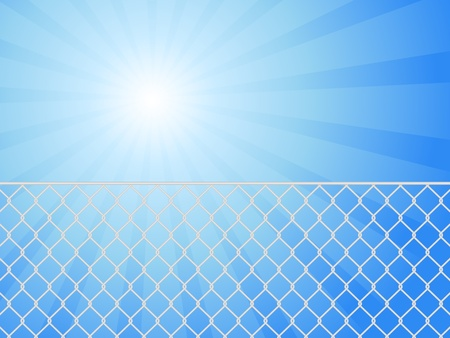 chainlink fence: Wire fence and blue sky. illustration. Illustration