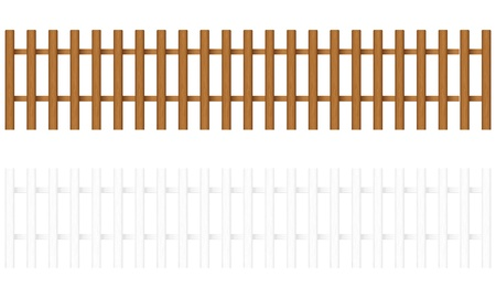 Wooden fences on a white background.  illustration. Stock Vector - 8695113