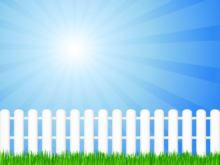 White wooden fence and green grass under dramatic sky.  illustration. Vector