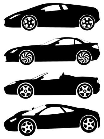 silhouette voiture: Silhouette une voiture de sport sur un fond blanc. Vector illustration. Illustration