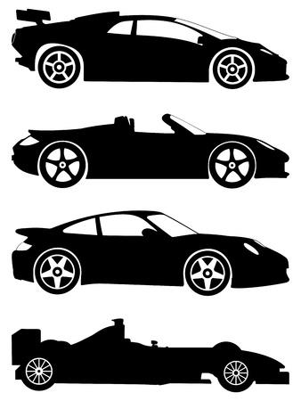 silueta coche: Silueta un deportivos sobre un fondo blanco. Ilustraci�n vectorial.