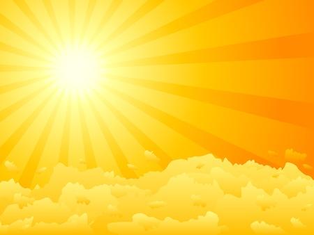Oranje lucht en dramatische zon. Vector illustratie.