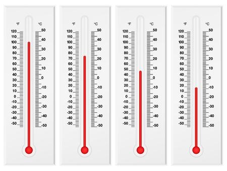 termometro: Conjunto de term�metro aislado en un fondo blanco. Ilustraci�n vectorial.