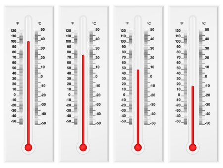 Thermometer set isolated on a white background. Vector illustration. Vector
