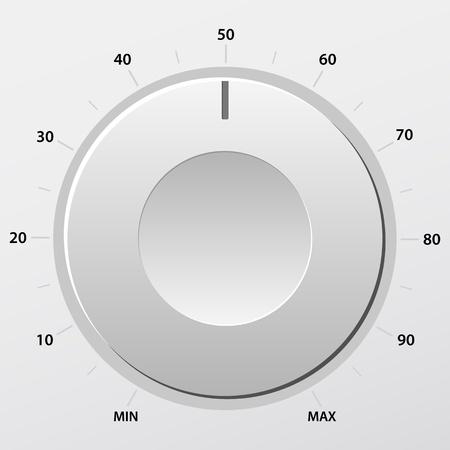 Grey volume knob. Vector illustration.