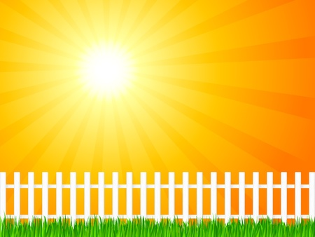 White wooden fence and grass under dramatic sky. Vector illustration. Stock Vector - 8784668