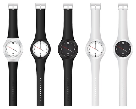 Set vector illustration wristwatch on a white background. Vector