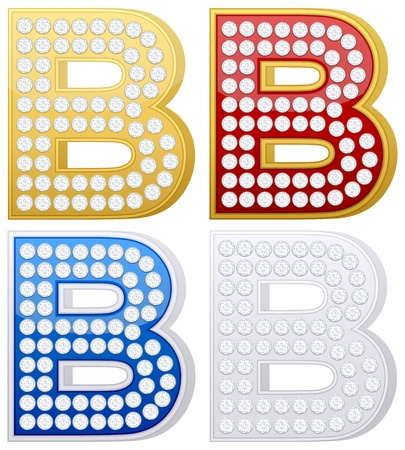 Jewelry letter B set  on a white background. Vector illustration. Vector