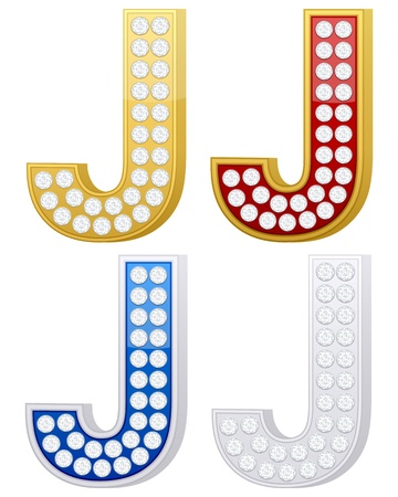 Jewelry letter J set  on a white background. Vector illustration. Vector