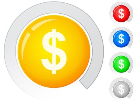 dolar: Botones de c�rculo con el dolar. Ilustraci�n vectorial. Vectores