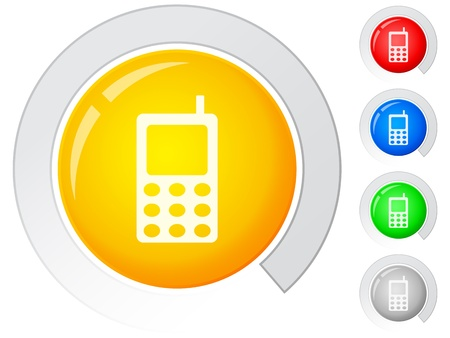 mobile communication: Circle buttons with mobile phone. Vector illustration. Illustration