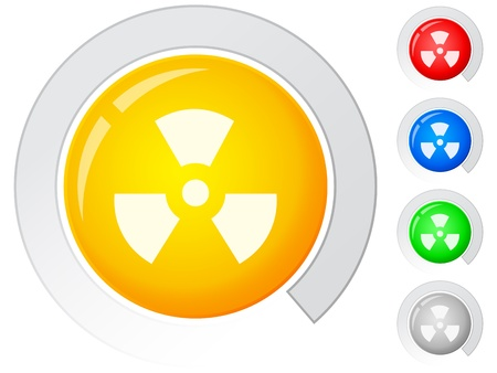 Circle buttons with radiation sign. illustration. Stock Vector - 9062402