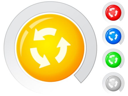 recycle symbol vector: Circle buttons with recycle symbol. Vector illustration. Illustration