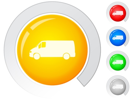 Circle buttons with van. Vector illustration. Vector