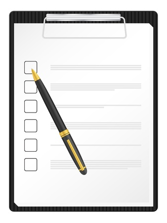 clipboard: Checklist on clipboard with pen.