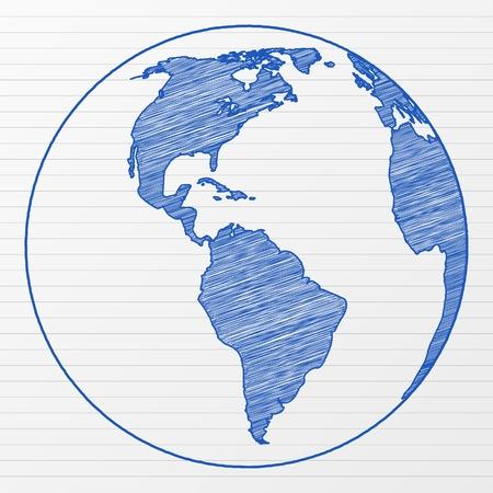 ink sketch: Globo di mondo di disegno su un foglio di blocco note.