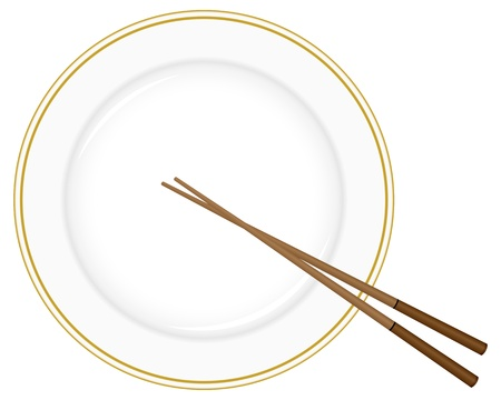 chopstick: Plate and chopsticks on a white background. Illustration