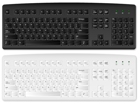 Computer keyboards on a white background. Vector illustration.