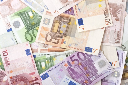euro's: Background with different euro banknotes. Stock Photo