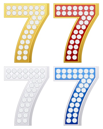 jewelry number seven set on a white background. Vector illustration. Vector