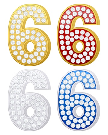 jewelry number six set on a white background. Vector illustration. Stock Vector - 9244141