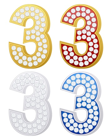 jewelry number three set on a white background. Vector illustration. Vector