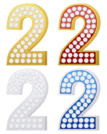 jewelry number two set on a white background. Vector illustration. Stock Vector - 9244136