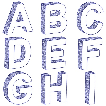 3D scratch letters from A to I on a white background. illustration. Vector