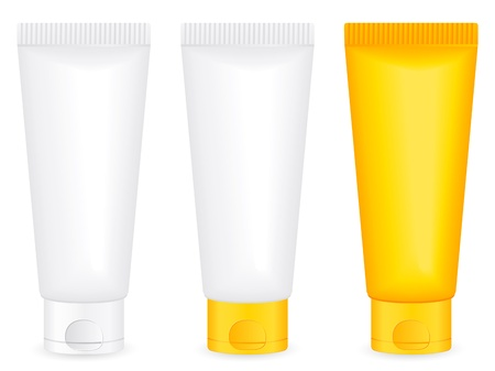Lotion tube set on a white background.  illustration. Vector