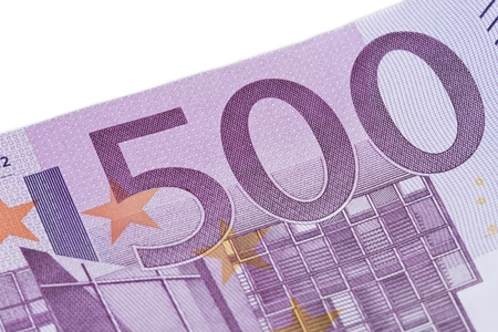 Close-up of  five hundred euro banknote. photo