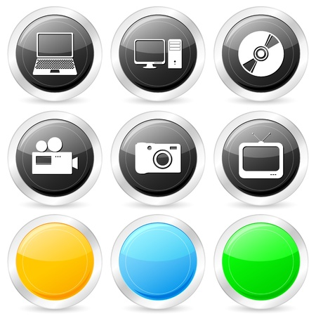 Technology circle icon set on a white background. Vector illustration. Stock Vector - 9362541
