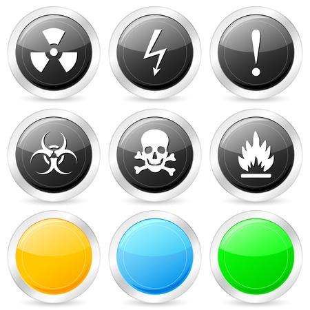 radioattivo: Icona del cerchio di avviso impostato su sfondo bianco. Illustrazione vettoriale.